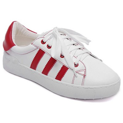 Striped PU Leather Athletic Shoes