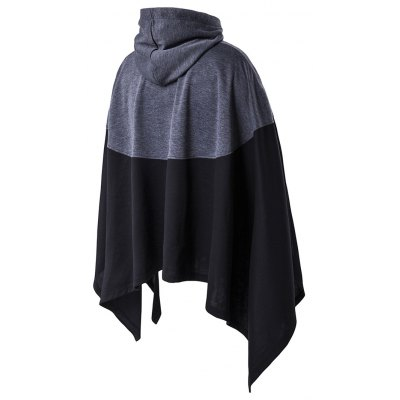 Irregular Cutting Hooded Color Block Splicing Cloak Style Hoodie