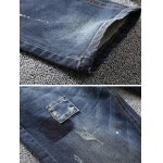 best Tapered Fit Paint Splatter Scratched Patch Jeans
