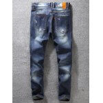 cheap Tapered Fit Paint Splatter Scratched Patch Jeans