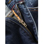Tapered Fit Paint Splatter Scratched Patch Jeans for sale
