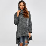 Hooded Asymmetric Loose Sweater photo