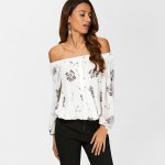 See Through Chiffon Floral Off The Shoulder Blouse photo