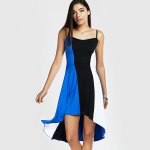 Spaghetti Strap Color Blocks High-Low Summer Dress photo