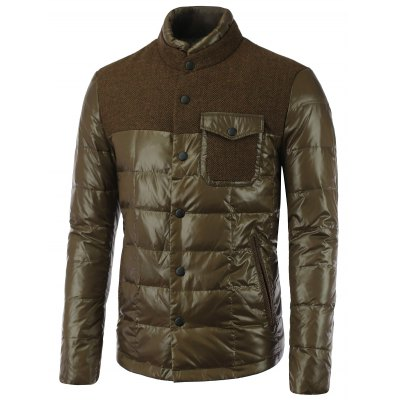 Double Layered Collar Spliced Pocket Quilted Jacket