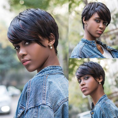 Short Pixie Cut Straight Capless Mixed Color Synthetic Wig