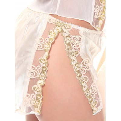 Embroidered Sheer Cami Top and Shorts and Robe