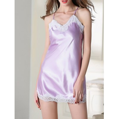Lace Trim Slip Satin Sleep Dress