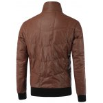 cheap Stand Collar Zip-Up Rib Spliced PU Jacket