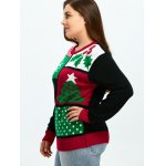 Plus Size Christmas Tree Snowflake Pattern Sweater deal