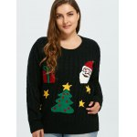 cheap Flocked Tree and Gift Pattern Christmas Sweater