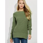 cheap Backless Lace Up Ribbed Sweater
