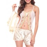 cheap Embroidered Sheer Cami Top and Shorts and Robe