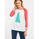 Christmas Tree Print Color Block T-Shirt deal
