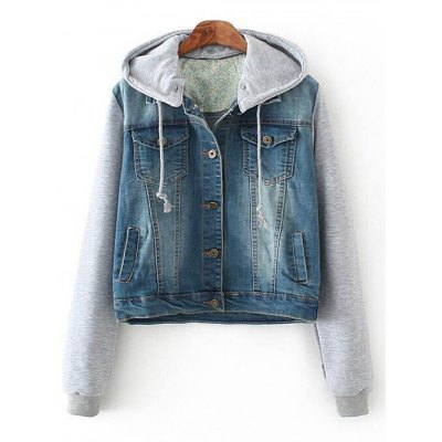 Hooded Denim Splicing Pockets Jacket