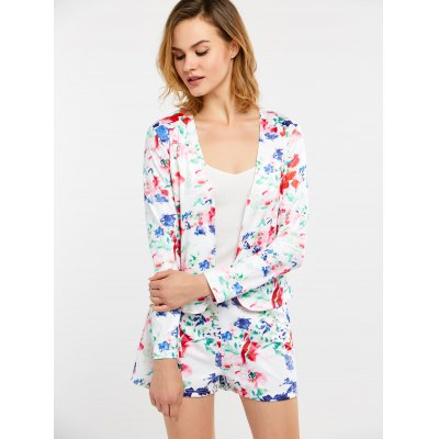 Floral Print Business Suit with Shorts