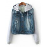 Hooded Denim Spliced Pockets Jacket
