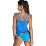 Stylish Halter Neck Hollow Out Striped Women's Tankini Set deal