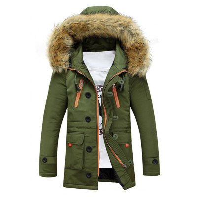 Faux Fur Hooded Multi-Pocket Padded Coat