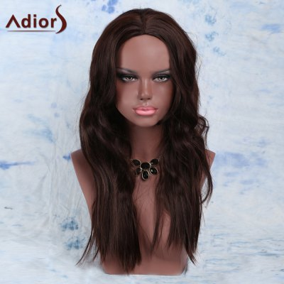 Deep Brown Long Straight Slightly Curled Centre Parting Synthetic Wig
