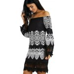 Off-The-Shoulder Laciness Paisley Casual Dress photo