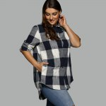 Plus Size Plaid Asymmetrical Shirt photo