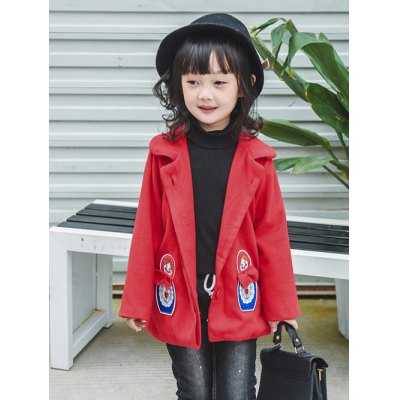 Girls Patched Wool Blend Coat