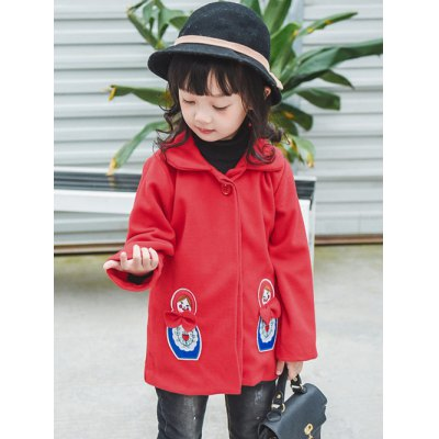 Girls Patched Wool Blend CoatGirls Clothing<br>Girls Patched Wool Blend Coat<br><br>Clothes Type: Wool &amp; Blends<br>Material: Polyester<br>Type: Wide-waisted<br>Clothing Length: Regular<br>Sleeve Length: Full<br>Collar: Lapel<br>Pattern Type: Character<br>Embellishment: Patch Designs<br>Style: Fashion<br>Weight: 0.302kg<br>Package Contents: 1 x Coat