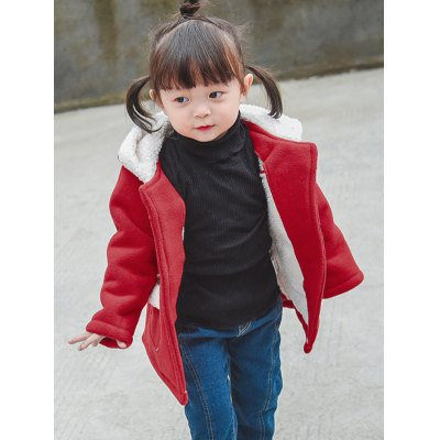 Girls Hooded Wool Blend Coat With Pocket