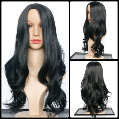Synthetic Black Long Middle Part Wavy Wig Wig