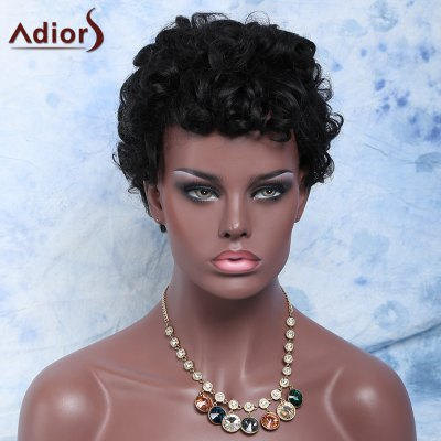 Side Bang Short Black Fluffy Curly Synthetic Wig