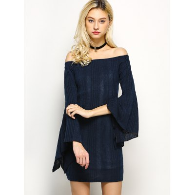 Off The Shoulder Mini Bell Sleeve  Dress