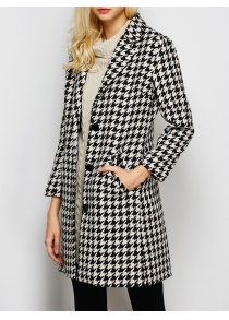 Lapel Single Breasted Houndstooth Coat