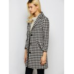 Lapel Single Breasted Houndstooth Coat for sale