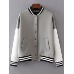 Buttoned Loose Baseball Jacket
