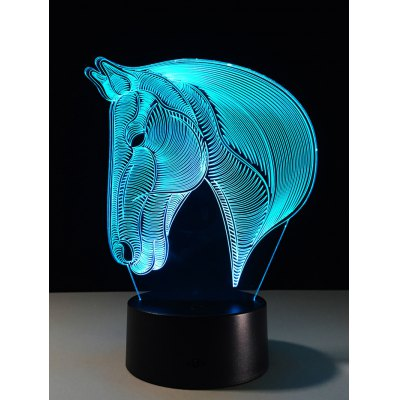 7 Color Changing LED 3D Horse Touch Atmosphere Night Light