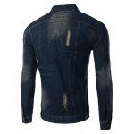 cheap Pockets Holes and Cat's Whisker Design Turn-Down Collar Long Sleeve Denim Jacket For Men