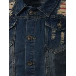 Pockets Holes and Cat's Whisker Design Turn-Down Collar Long Sleeve Denim Jacket For Men deal