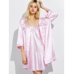 cheap Cami Embroidered Babydoll and Fitting Wrap Robe
