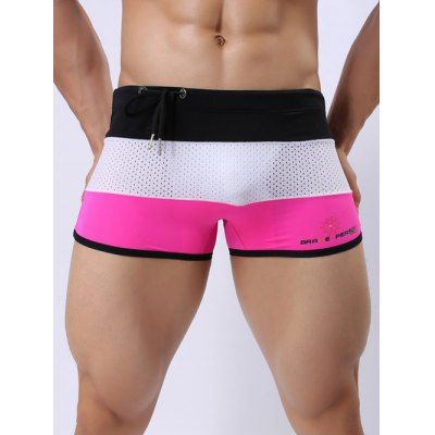 Color Block Drawstring Mesh Swimming Trunks