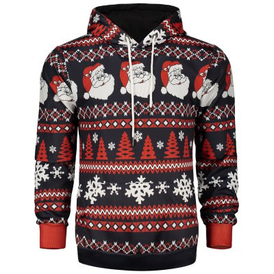 Hooded Christmas and Snowflake Print Hoodie