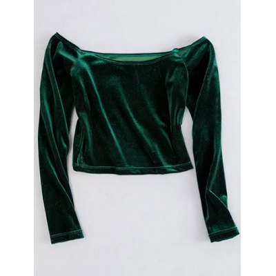 Off The Shoulder Cropped Velvet Top