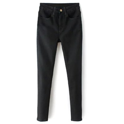 Zip Fly High Waisted Black Skinny Jeans