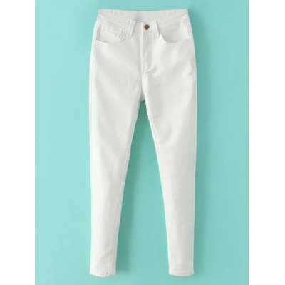 Zip Fly High Waisted Skinny White Jeans