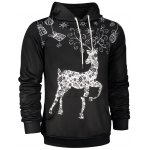 cheap Deer Print Pocket Front Christmas Black Hoodie Mens