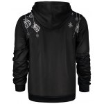 Deer Print Pocket Front Christmas Black Hoodie Mens deal