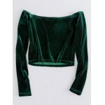 cheap Off The Shoulder Cropped Velvet Top