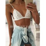 cheap Embroidered Transparent Sheer Mesh Plunge Bra