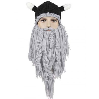 Animal Ear Shape and Beard Braid Tassel Embellished Knitted Hat For Men