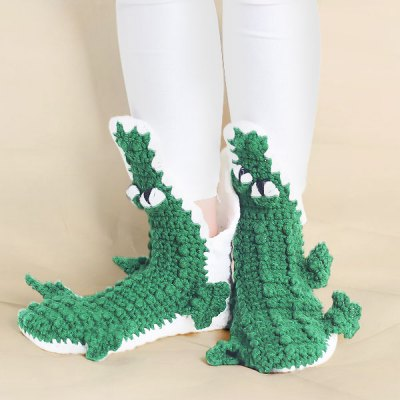Knitted Cartoon Alligator Slipper Socks